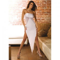 ABITO BIANCO BIAS CUT EVENING GOWN