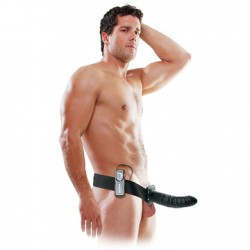FALLO INDOSSABILE VIBRANTE  8'' VIBRATING HOLLOW STRAP ON NERO